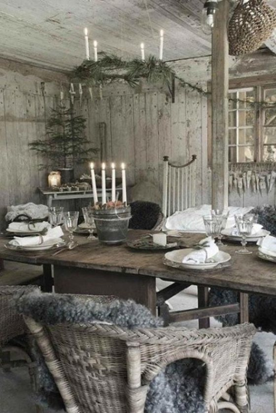 best-design-amusing-rustic-christmas-table-setting-vintage-small-tree-old-rattan-chairs-and-also